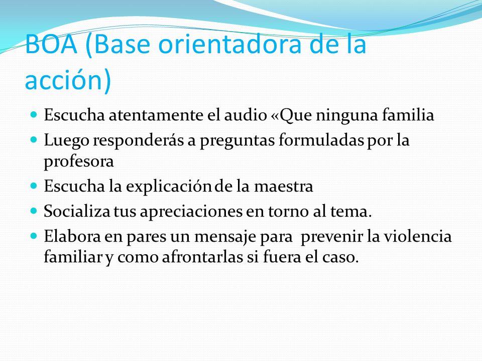 BOA (Base orientadora de la acción) Escucha atentamente el audio «Que ninguna familia Luego responderás a preguntas formuladas por la profesora Escuch