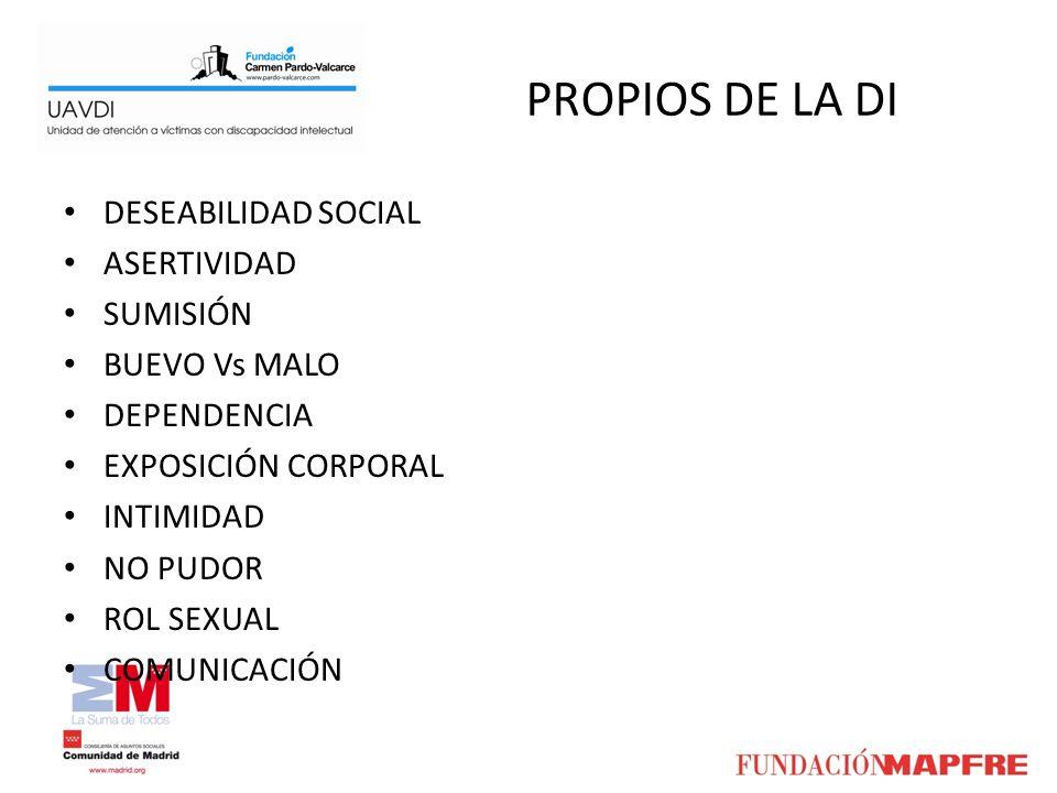 PROPIOS DE LA DI DESEABILIDAD SOCIAL ASERTIVIDAD SUMISIÓN BUEVO Vs MALO DEPENDENCIA EXPOSICIÓN CORPORAL INTIMIDAD NO PUDOR ROL SEXUAL COMUNICACIÓN