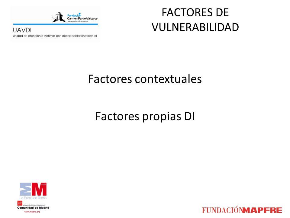 FACTORES DE VULNERABILIDAD Factores contextuales Factores propias DI