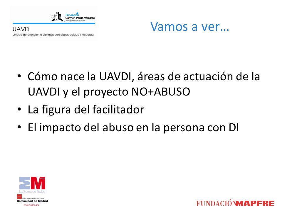 Vamos a ver… Cómo nace la UAVDI, áreas de actuación de la UAVDI y el proyecto NO+ABUSO La figura del facilitador El impacto del abuso en la persona co