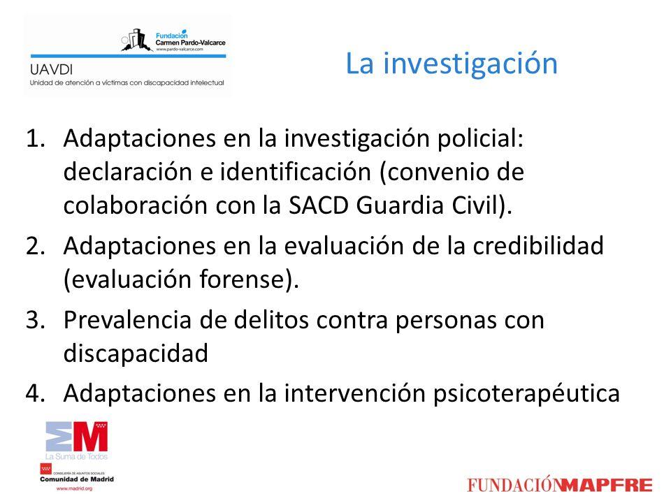 La investigación 1.Adaptaciones en la investigación policial: declaración e identificación (convenio de colaboración con la SACD Guardia Civil). 2.Ada
