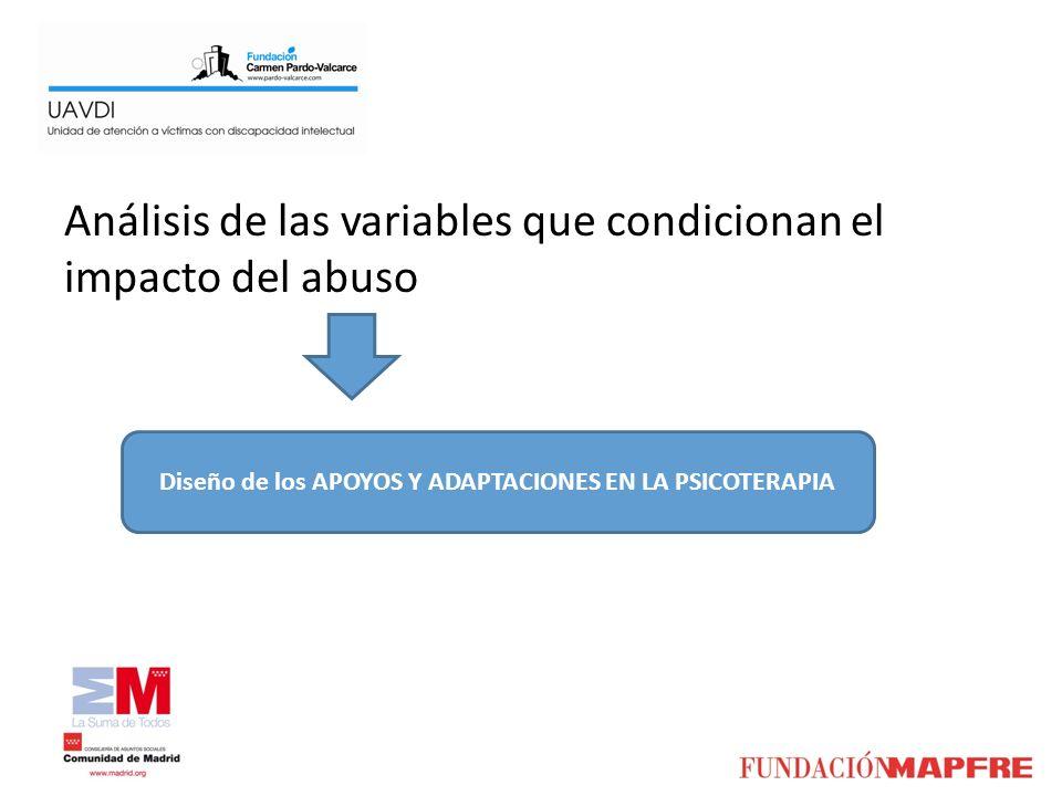 Análisis de las variables que condicionan el impacto del abuso Diseño de los APOYOS Y ADAPTACIONES EN LA PSICOTERAPIA