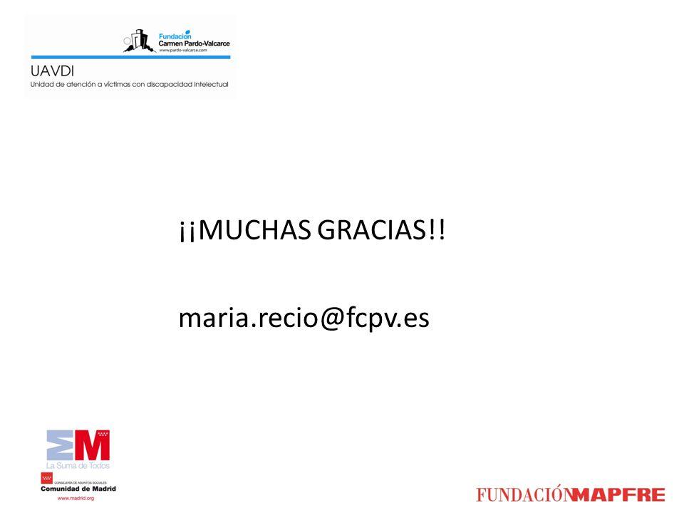 ¡¡MUCHAS GRACIAS!! maria.recio@fcpv.es