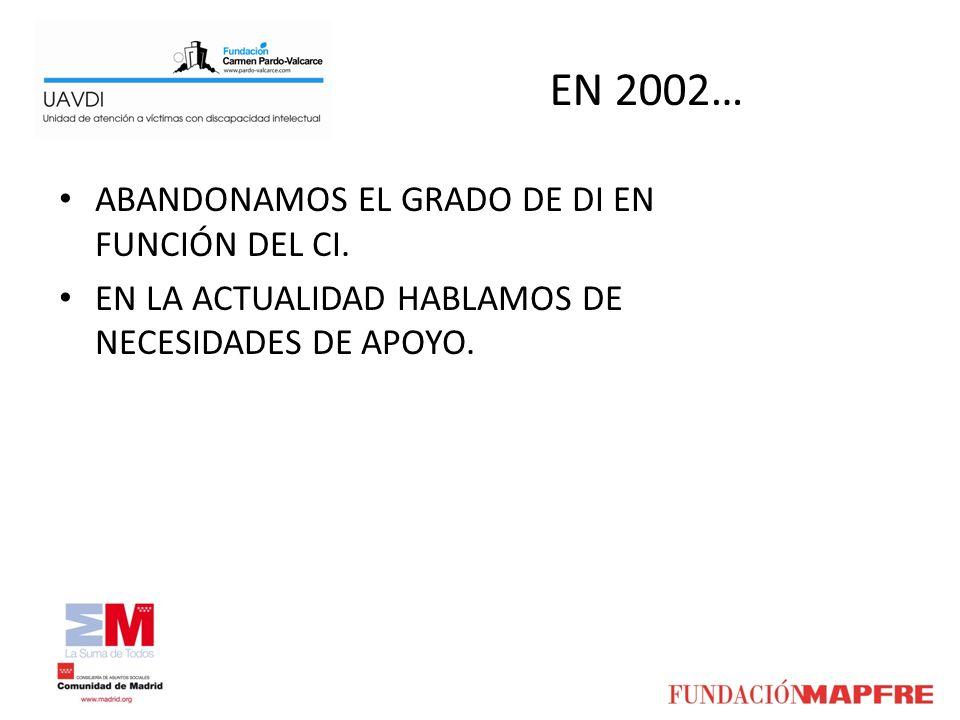 EN 2002… ABANDONAMOS EL GRADO DE DI EN FUNCIÓN DEL CI. EN LA ACTUALIDAD HABLAMOS DE NECESIDADES DE APOYO.