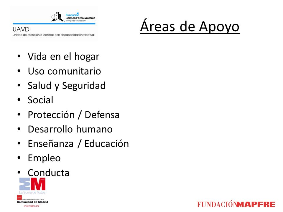 Áreas de Apoyo Vida en el hogar Uso comunitario Salud y Seguridad Social Protección / Defensa Desarrollo humano Enseñanza / Educación Empleo Conducta