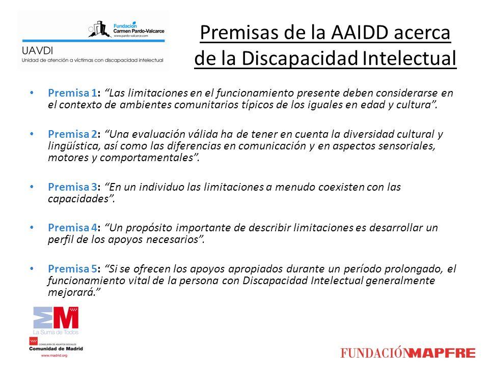 Premisas de la AAIDD acerca de la Discapacidad Intelectual Premisa 1: Las limitaciones en el funcionamiento presente deben considerarse en el contexto
