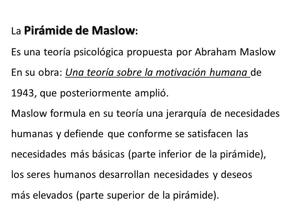 Pirámide de Maslow La Pirámide de Maslow : Es una teoría psicológica propuesta por Abraham Maslow En su obra: Una teoría sobre la motivación humana de