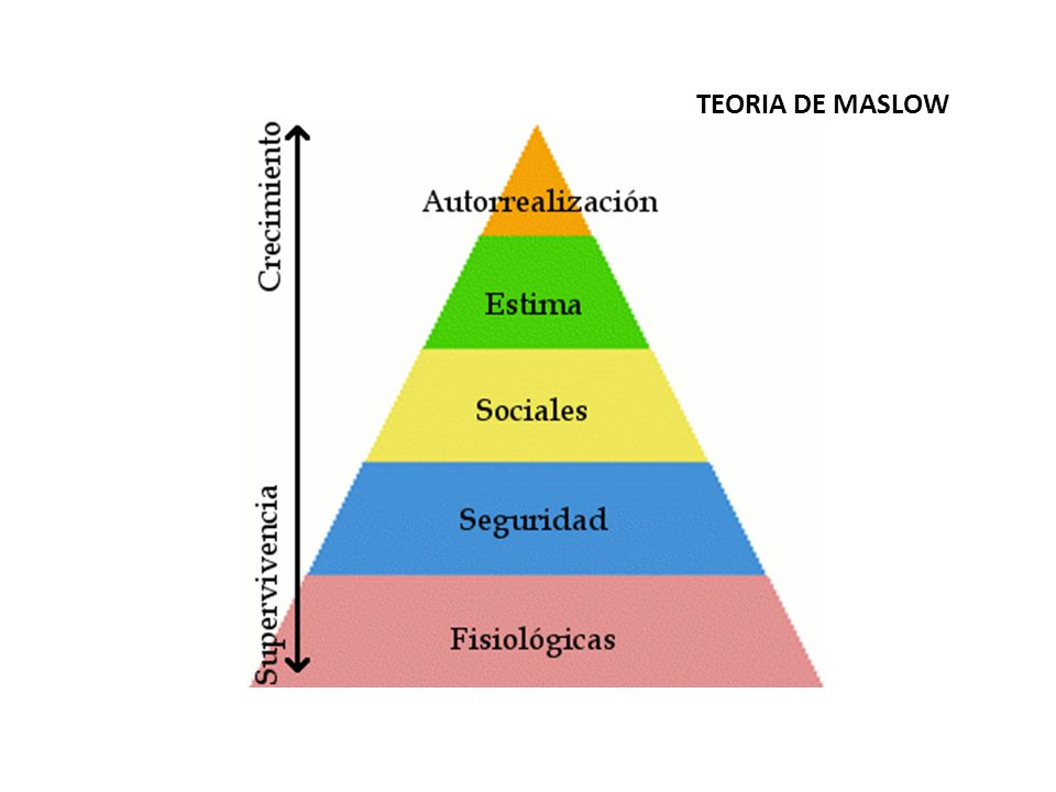 Teoría de Maslow Es una clasificación de las necesidades en cinco niveles que se han de satisfacer de manera progresiva: Las necesidades fisiológicas: beber, comer, protegerse del frío… Necesidades de seguridad: un contrato indefinido, un seguro, la jubilación… Necesidades sociales o de estatus: son las necesidades de las relaciones sociales.