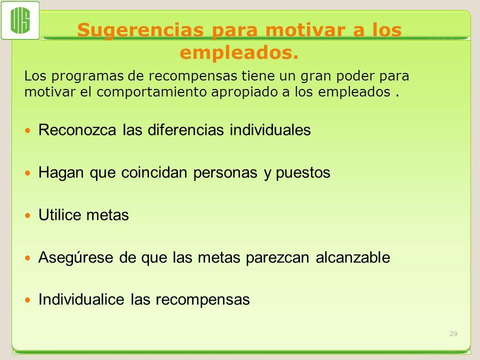 Sugerencias para motivar a los empleados. Los programas de recompensas tiene un gran poder para motivar el comportamiento apropiado a los empleados. R