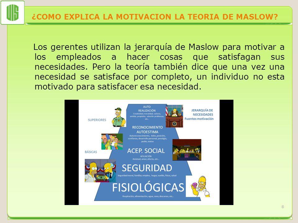 ¿COMO EXPLICA LA MOTIVACION LA TEORIA DE MASLOW? Los gerentes utilizan la jerarquía de Maslow para motivar a los empleados a hacer cosas que satisfaga