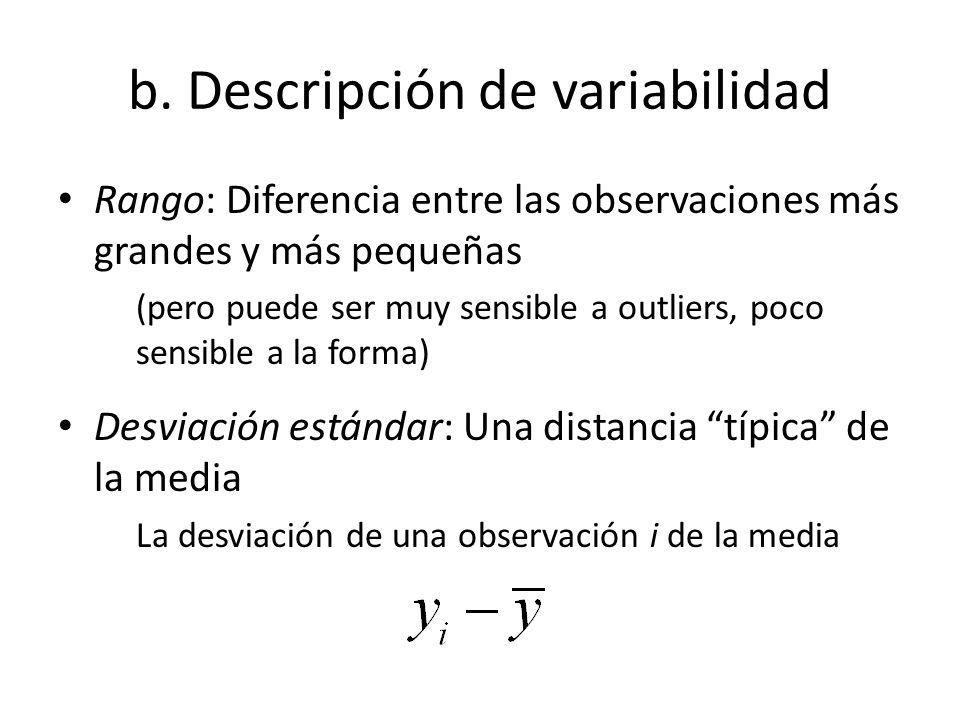 b. Descripción de variabilidad Rango: Diferencia entre las observaciones más grandes y más pequeñas (pero puede ser muy sensible a outliers, poco sens