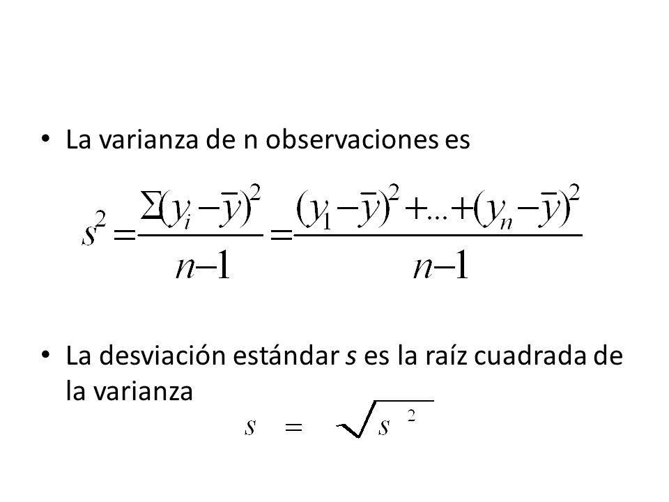 La varianza de n observaciones es La desviación estándar s es la raíz cuadrada de la varianza