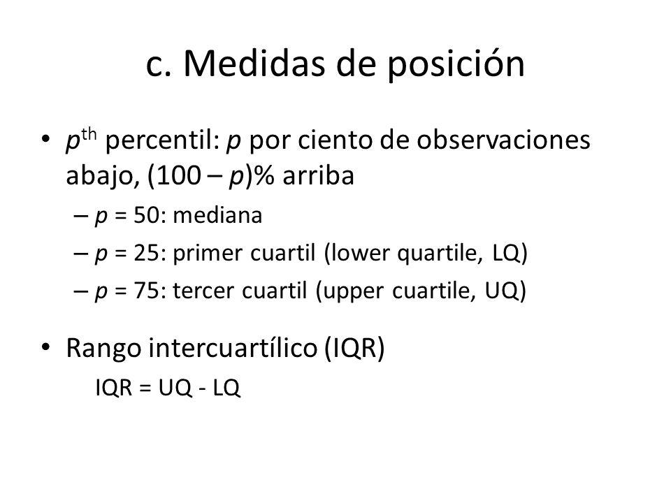 c. Medidas de posición p th percentil: p por ciento de observaciones abajo, (100 – p)% arriba – p = 50: mediana – p = 25: primer cuartil (lower quarti