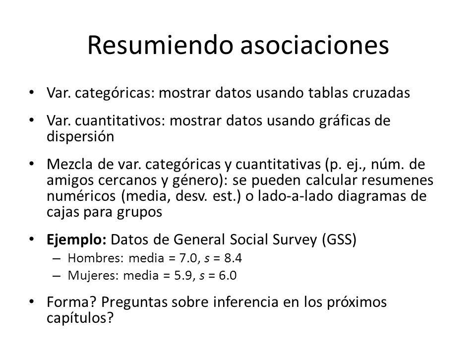 Resumiendo asociaciones Var.categóricas: mostrar datos usando tablas cruzadas Var.
