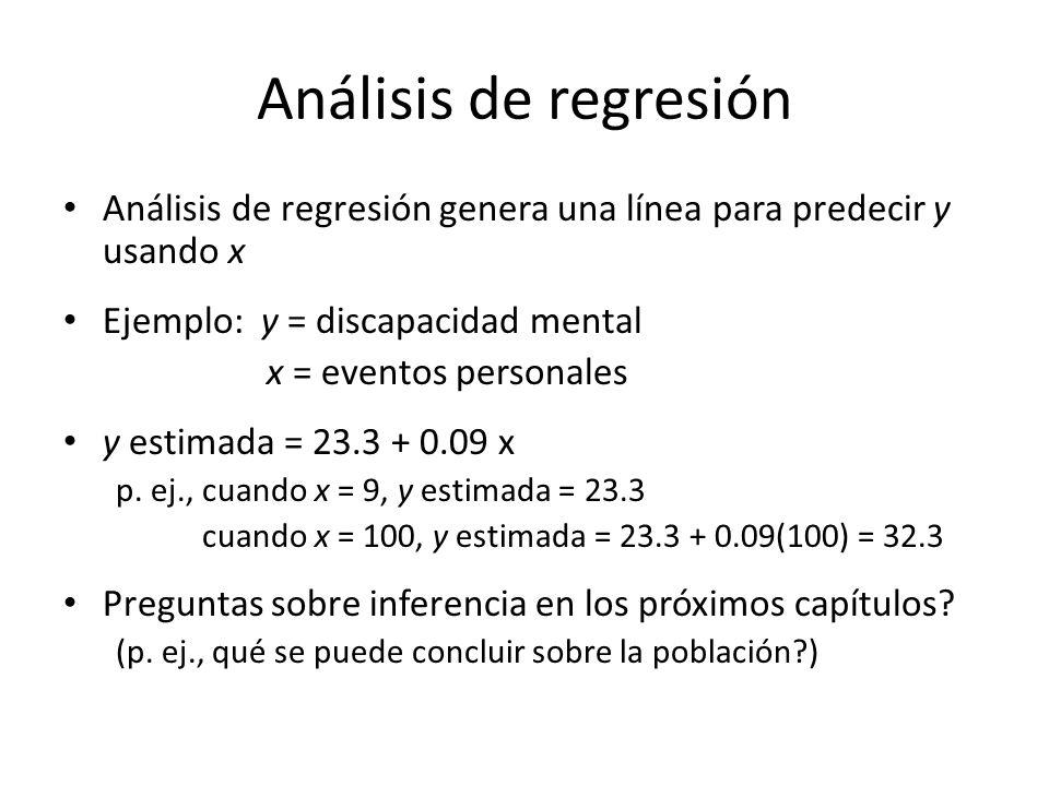 Análisis de regresión Análisis de regresión genera una línea para predecir y usando x Ejemplo: y = discapacidad mental x = eventos personales y estimada = 23.3 + 0.09 x p.