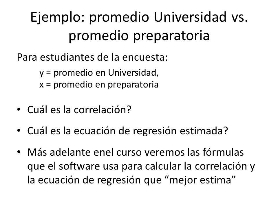 Ejemplo: promedio Universidad vs.