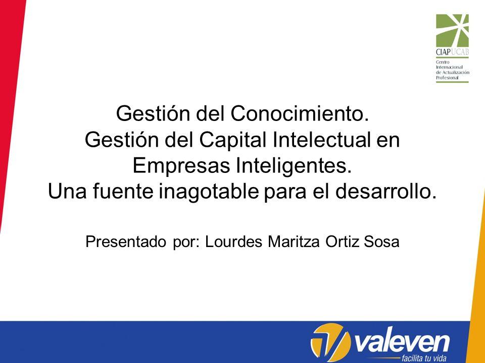 Gestión del Conocimiento. Gestión del Capital Intelectual en Empresas Inteligentes. Una fuente inagotable para el desarrollo. Presentado por: Lourdes