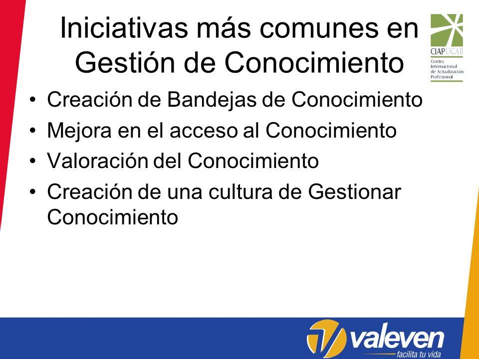 Iniciativas más comunes en Gestión de Conocimiento Creación de Bandejas de Conocimiento Mejora en el acceso al Conocimiento Valoración del Conocimient