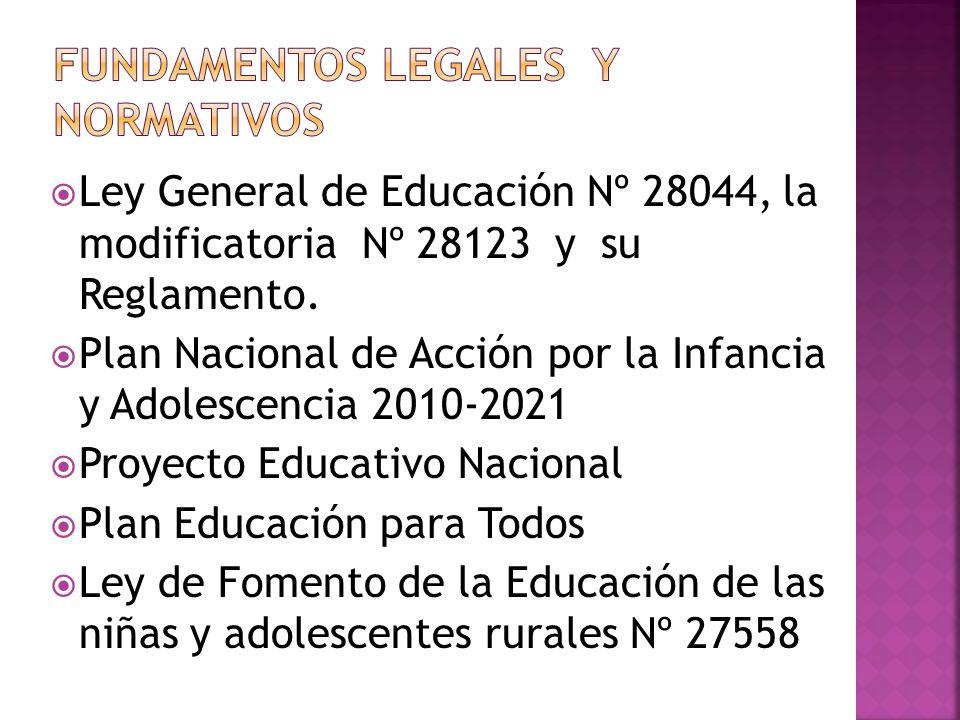 Ley General de Educación Nº 28044, la modificatoria Nº 28123 y su Reglamento. Plan Nacional de Acción por la Infancia y Adolescencia 2010-2021 Proyect