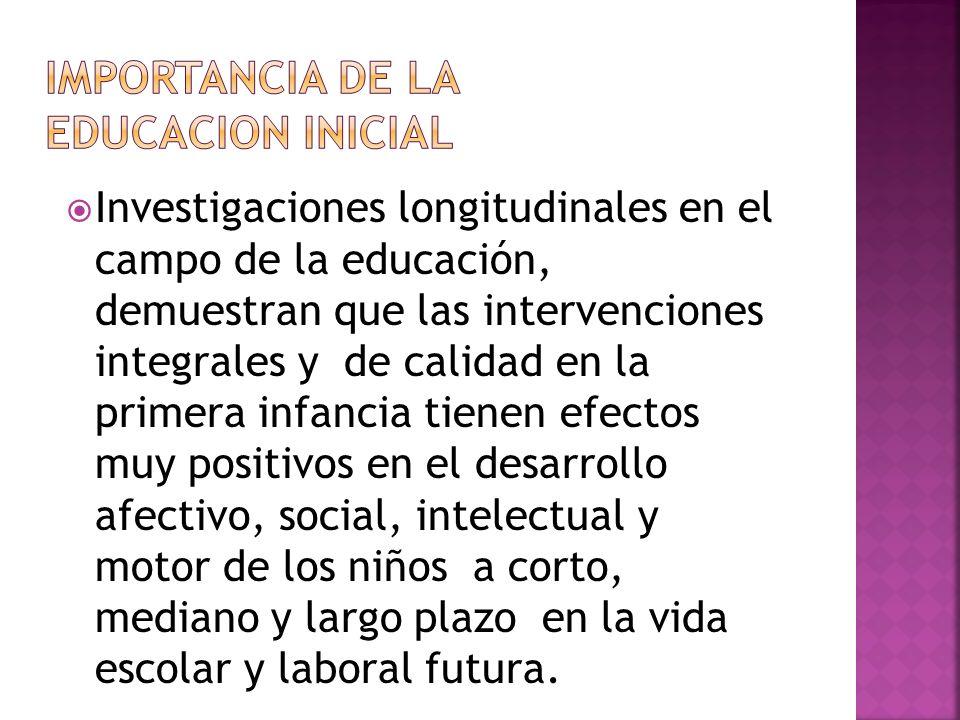 Investigaciones longitudinales en el campo de la educación, demuestran que las intervenciones integrales y de calidad en la primera infancia tienen ef