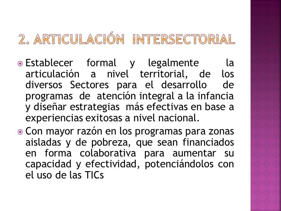 Establecer formal y legalmente la articulación a nivel territorial, de los diversos Sectores para el desarrollo de programas de atención integral a la