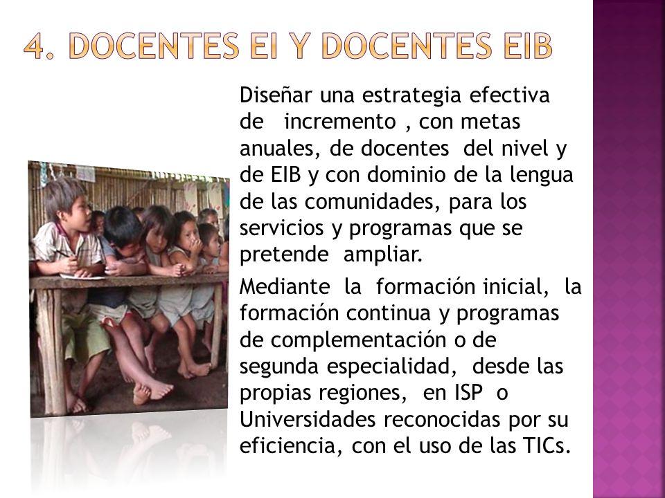 Diseñar una estrategia efectiva de incremento, con metas anuales, de docentes del nivel y de EIB y con dominio de la lengua de las comunidades, para l