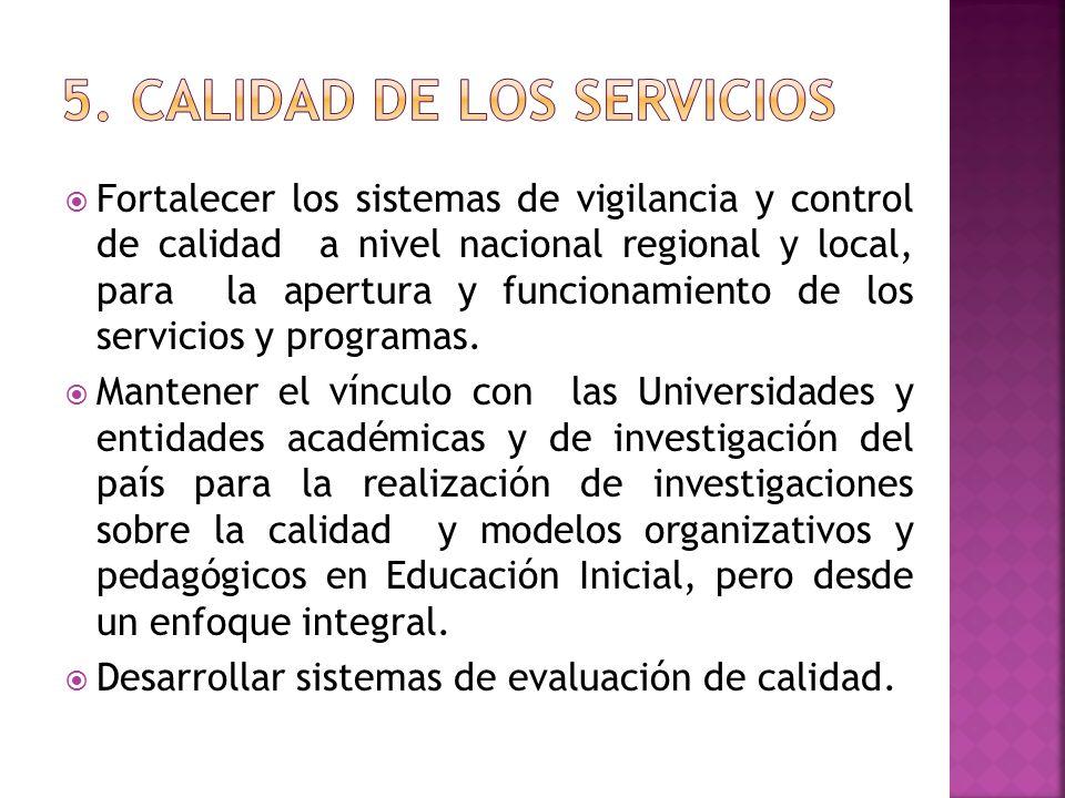 Fortalecer los sistemas de vigilancia y control de calidad a nivel nacional regional y local, para la apertura y funcionamiento de los servicios y pro
