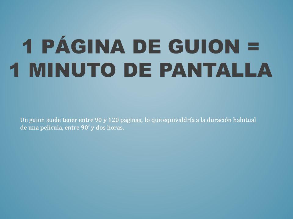 1 PÁGINA DE GUION = 1 MINUTO DE PANTALLA Un guion suele tener entre 90 y 120 paginas, lo que equivaldría a la duración habitual de una película, entre
