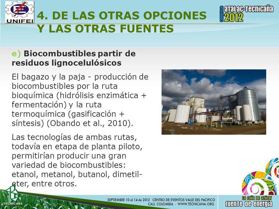 4. DE LAS OTRAS OPCIONES Y LAS OTRAS FUENTES e) Biocombustibles partir de residuos lignocelulósicos El bagazo y la paja - producción de biocombustible