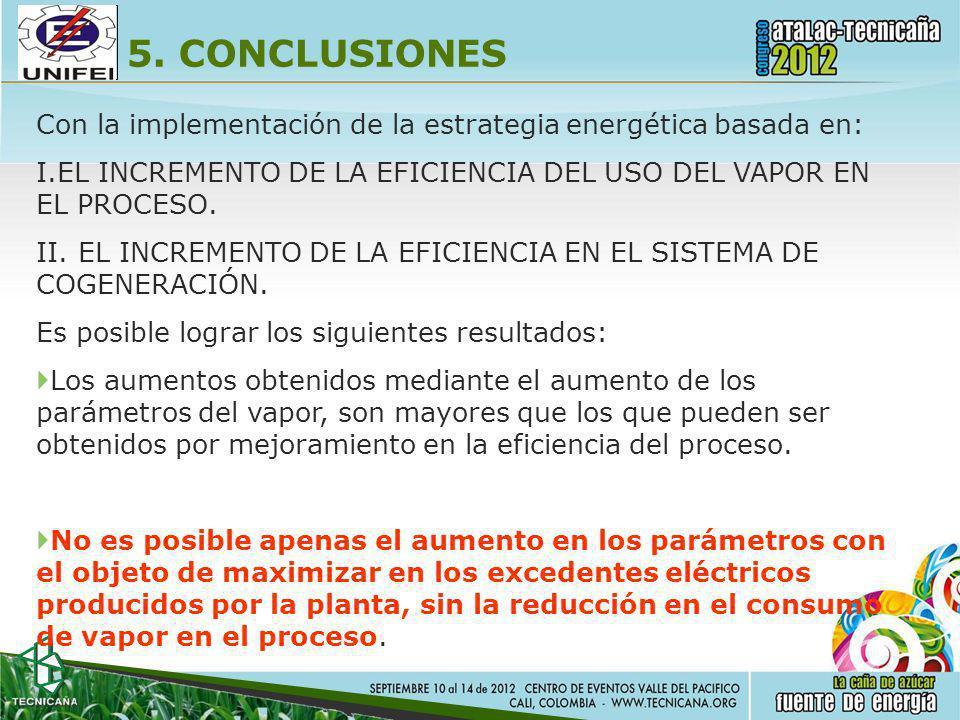 5. CONCLUSIONES Con la implementación de la estrategia energética basada en: I.EL INCREMENTO DE LA EFICIENCIA DEL USO DEL VAPOR EN EL PROCESO. II.EL I