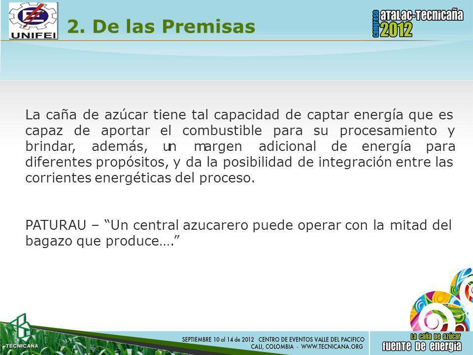 2. De las Premisas La caña de azúcar tiene tal capacidad de captar energía que es capazde brindar, aportarelcombustibleparasuprocesamientoy además, un