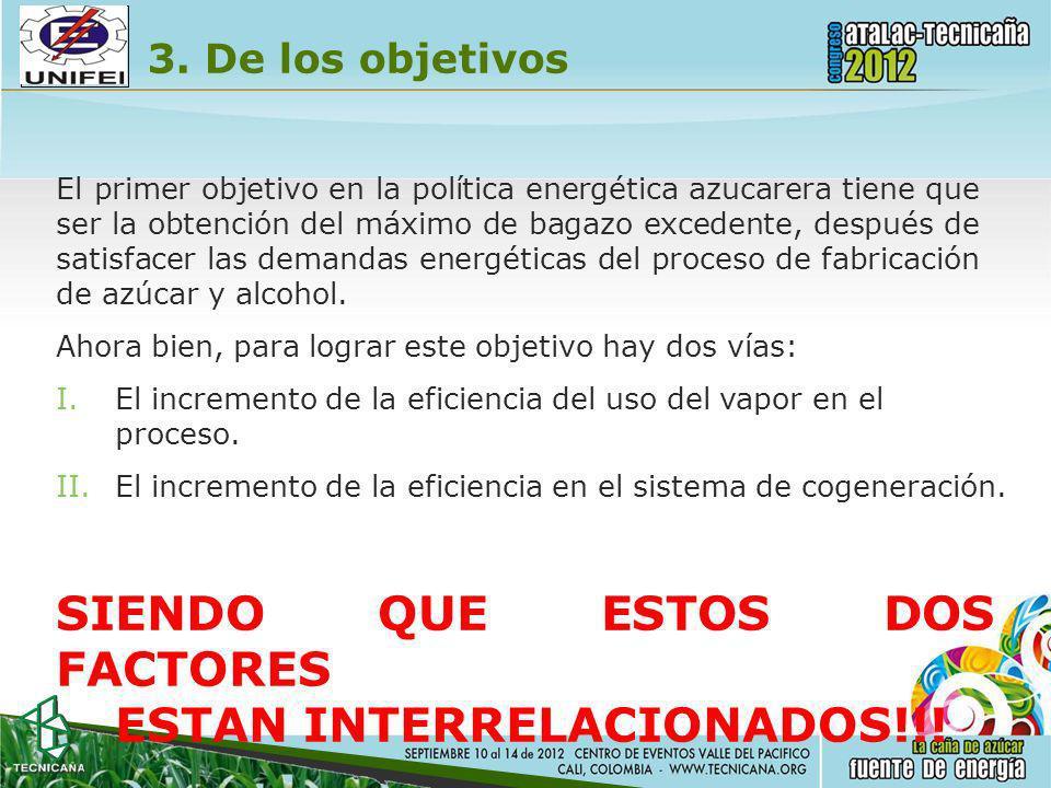 3. De los objetivos El primer objetivo en la política energética azucarera tiene que ser la obtención del máximo de bagazo excedente, después de satis