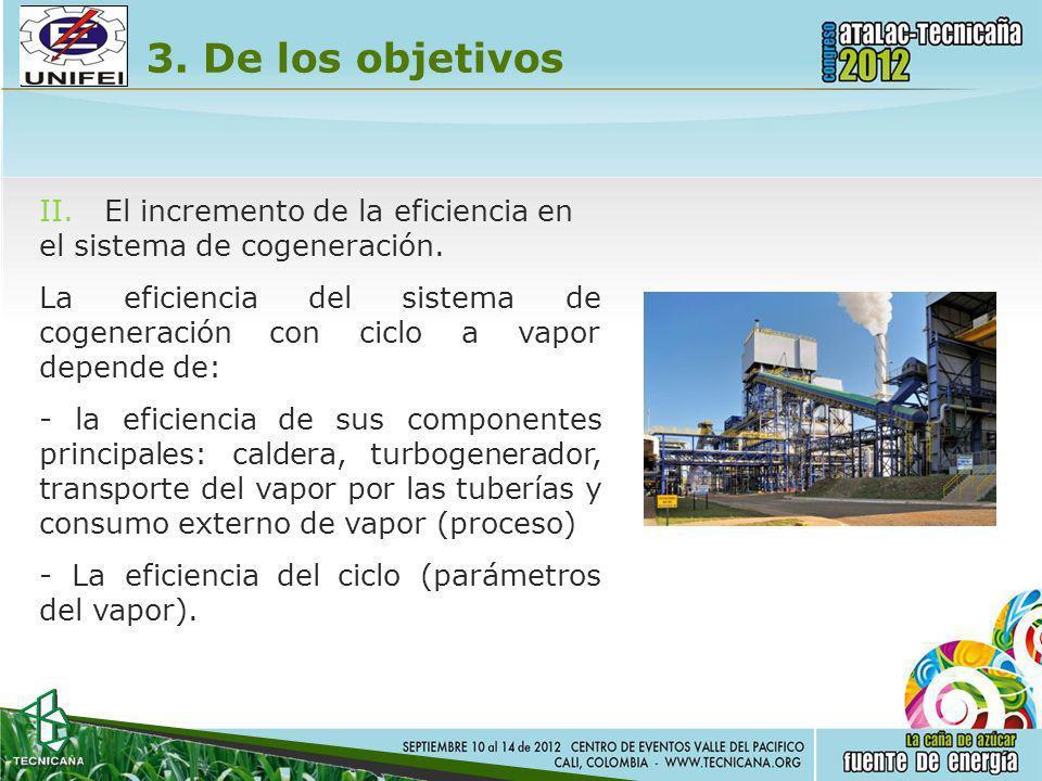 3. De los objetivos II.El incremento de la eficiencia en el sistema de cogeneración. Laeficiencia cogeneración depende de: -laeficiencia delconciclode