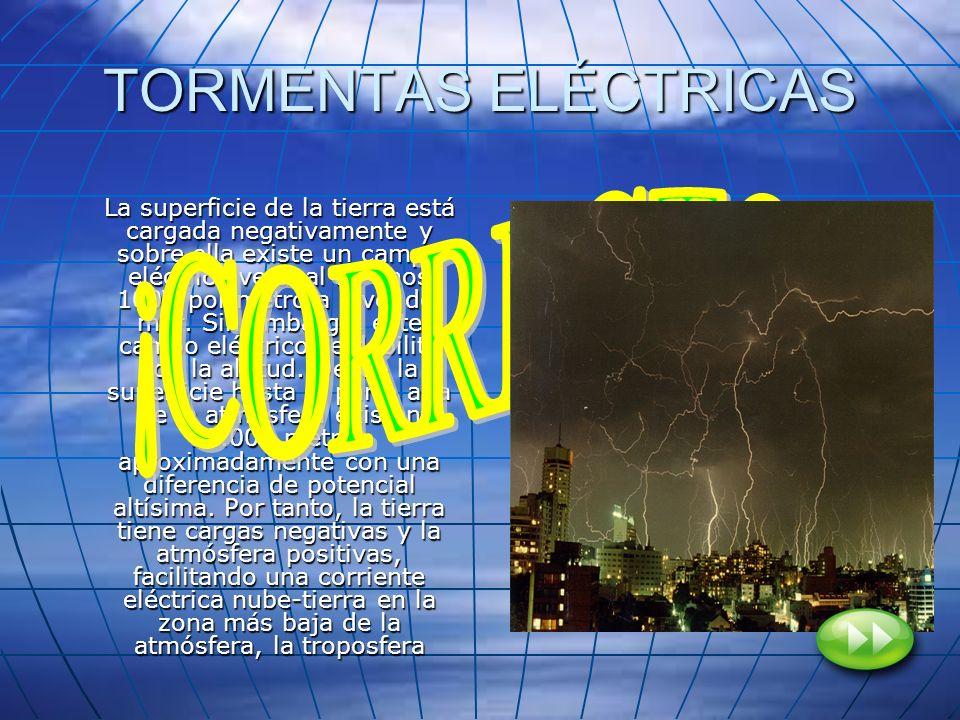 TORMENTAS ELÉCTRICAS La superficie de la tierra está cargada negativamente y sobre ella existe un campo eléctrico vertical de unos 100V por metro a ni