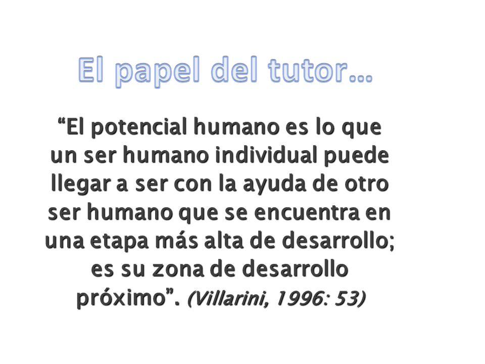 El potencial humano es lo que un ser humano individual puede llegar a ser con la ayuda de otro ser humano que se encuentra en una etapa más alta de de
