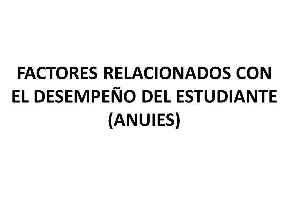 FACTORES RELACIONADOS CON EL DESEMPEÑO DEL ESTUDIANTE (ANUIES)