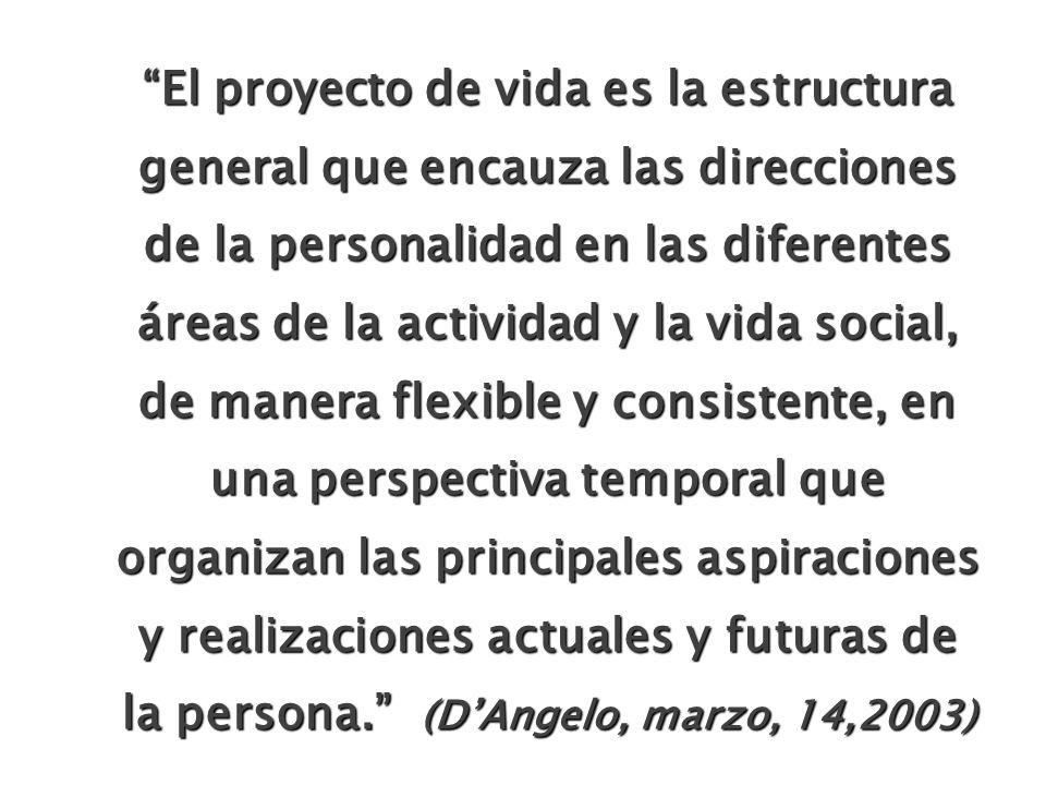 El proyecto de vida es la estructura general que encauza las direcciones de la personalidad en las diferentes áreas de la actividad y la vida social,