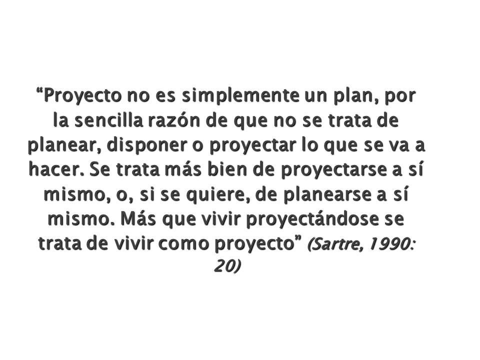 Proyecto no es simplemente un plan, por la sencilla razón de que no se trata de planear, disponer o proyectar lo que se va a hacer. Se trata más bien
