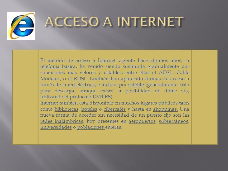 El método de acceso a Internet vigente hace algunos años, la telefonía básica, ha venido siendo sustituida gradualmente por conexiones más veloces y e