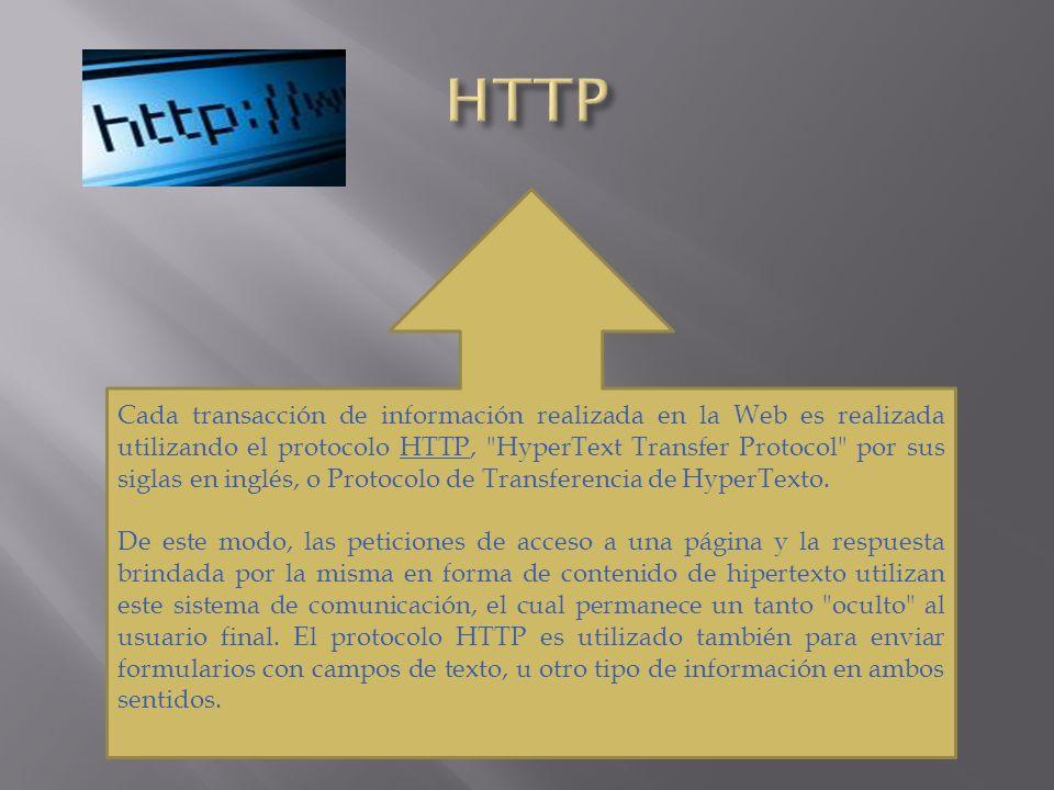 Cada transacción de información realizada en la Web es realizada utilizando el protocolo HTTP,
