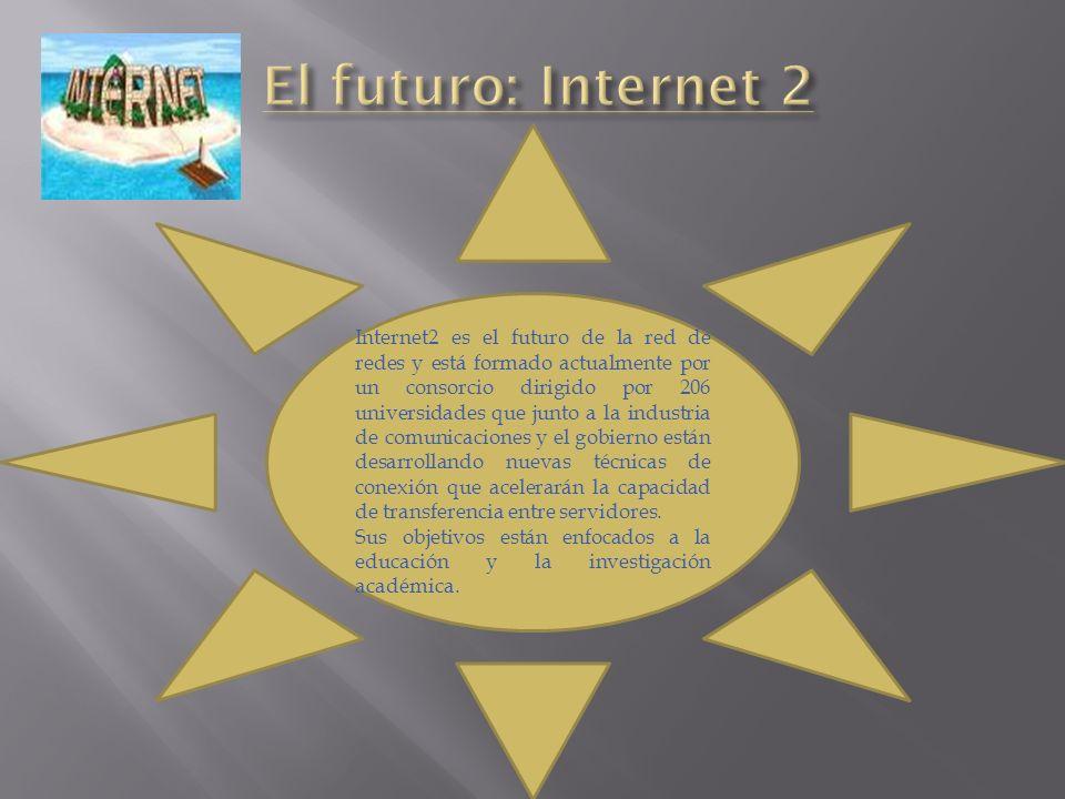 Internet2 es el futuro de la red de redes y está formado actualmente por un consorcio dirigido por 206 universidades que junto a la industria de comun