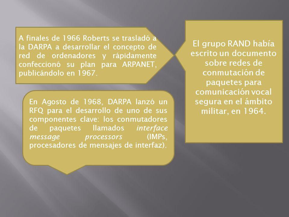A finales de 1966 Roberts se trasladó a la DARPA a desarrollar el concepto de red de ordenadores y rápidamente confeccionó su plan para ARPANET, publi