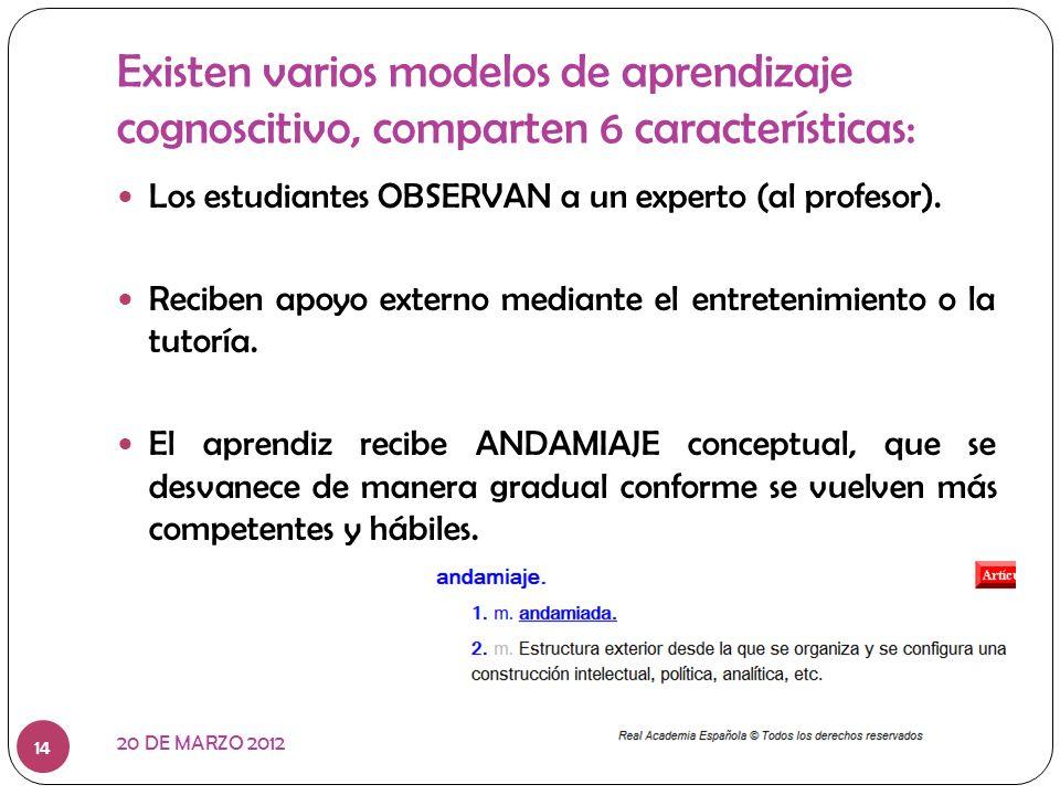 Existen varios modelos de aprendizaje cognoscitivo, comparten 6 características: Los estudiantes OBSERVAN a un experto (al profesor). Reciben apoyo ex