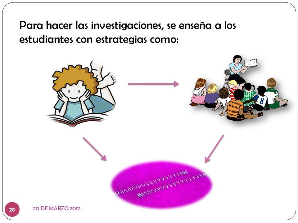 Para hacer las investigaciones, se enseña a los estudiantes con estrategias como: 20 DE MARZO 2012 28