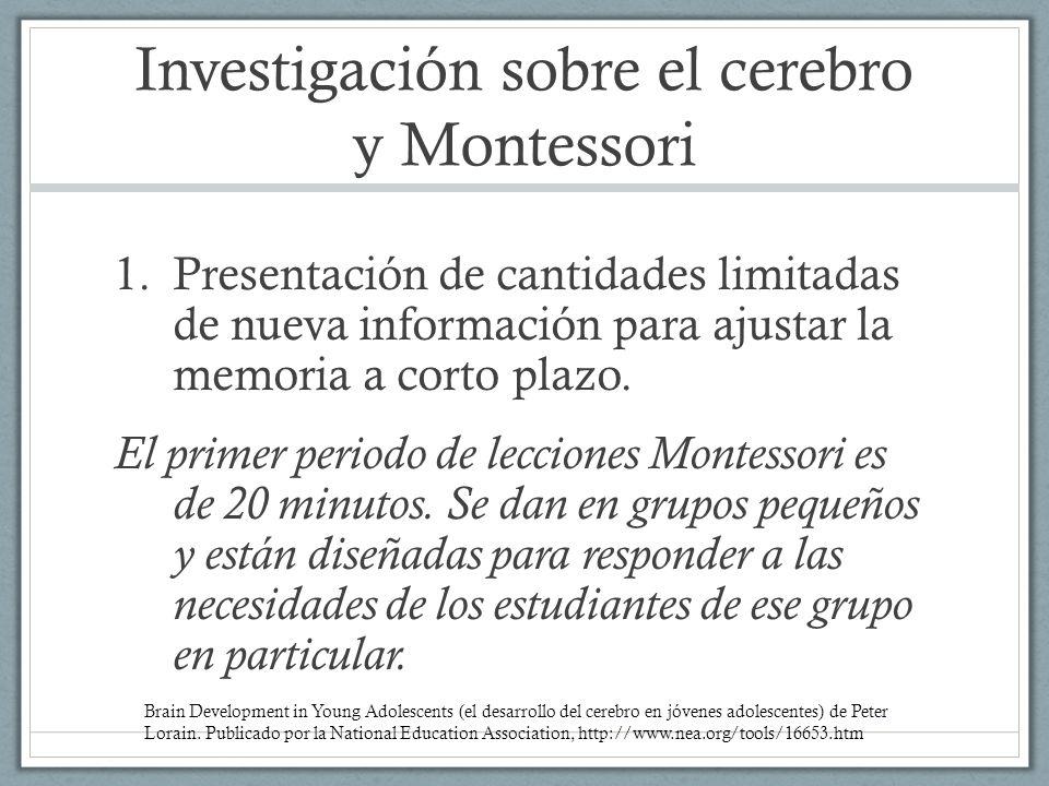 Investigación sobre el cerebro y Montessori 1.Presentación de cantidades limitadas de nueva información para ajustar la memoria a corto plazo. El prim