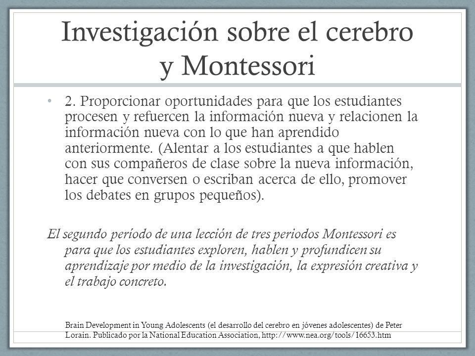 Investigación sobre el cerebro y Montessori 2. Proporcionar oportunidades para que los estudiantes procesen y refuercen la información nueva y relacio