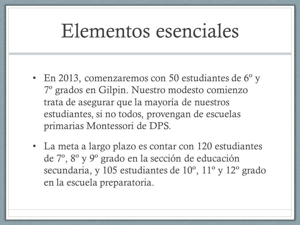 Elementos esenciales En 2013, comenzaremos con 50 estudiantes de 6º y 7º grados en Gilpin. Nuestro modesto comienzo trata de asegurar que la mayoría d