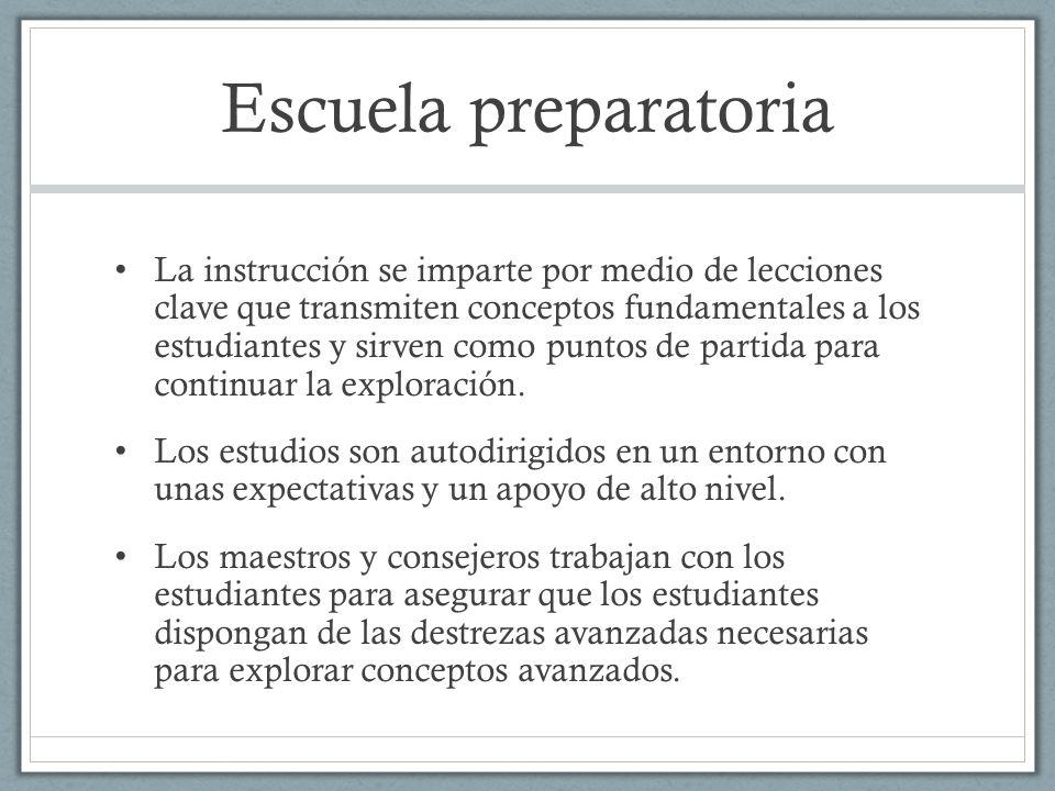 Escuela preparatoria La instrucción se imparte por medio de lecciones clave que transmiten conceptos fundamentales a los estudiantes y sirven como pun