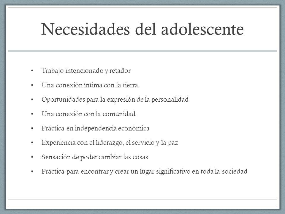 Necesidades del adolescente Trabajo intencionado y retador Una conexión íntima con la tierra Oportunidades para la expresión de la personalidad Una co