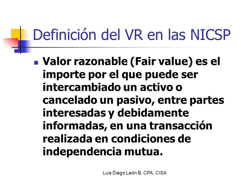 Definición del VR en las NICSP Valor razonable (Fair value) es el importe por el que puede ser intercambiado un activo o cancelado un pasivo, entre pa